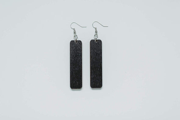 Long Rectangle Wood Earrings from Black Stained Natural Reclaimed Maple