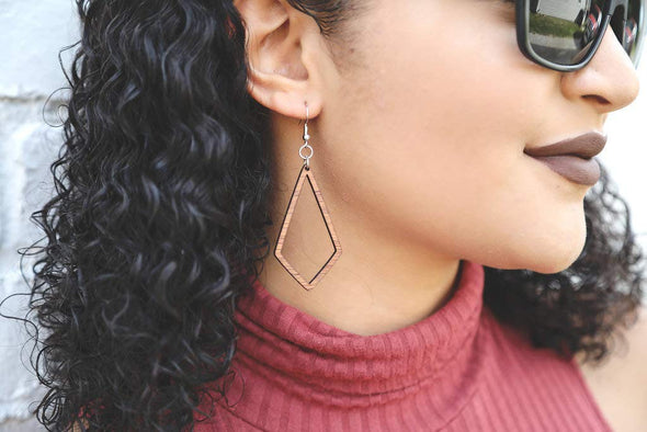 Kite Shaped Wood Earrings from Natural Reclaimed Mahogany