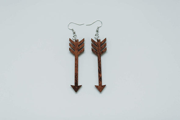 SALE! Wood Feathered Arrow Earrings from Solid Mahogany Stained Maple