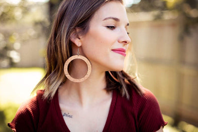 Super Hoop Wood Earrings from Natural Reclaimed Mahogany