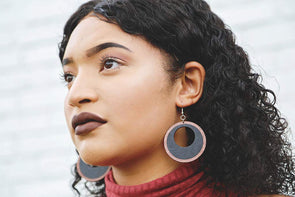 Two-Tone Wood Hoop Earrings from Natural Reclaimed Mahogany and Black Stained Maple