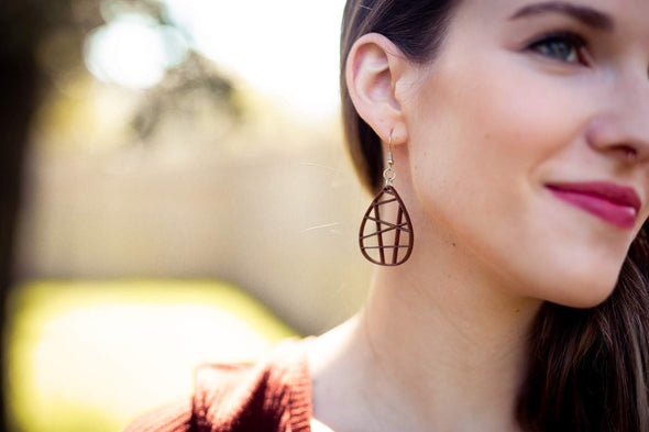 Wood Teardrop Grid Geometric Earrings from Mahogany Stained Maple