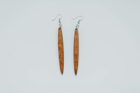 SALE!! Icicle Shape Long Skinny Natural Wood Earrings from Solid Reclaimed Mahogany