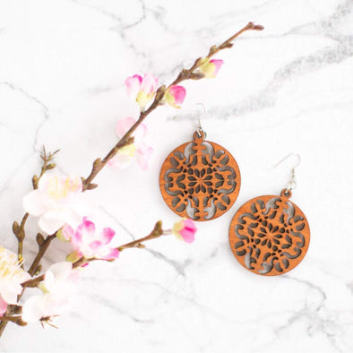 Round Ornate Wood Earrings from Reclaimed Mahogany