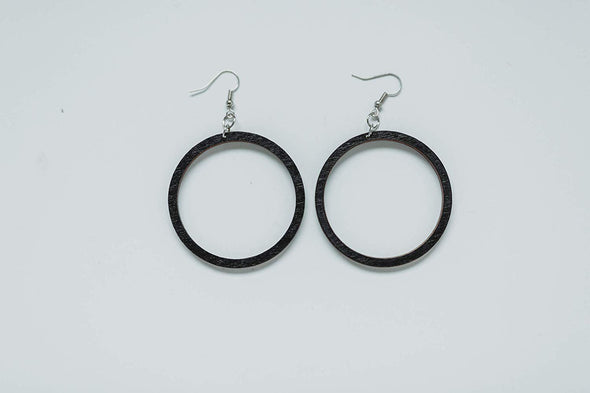 Black Wood Hoop Earrings from Natural Reclaimed Stained Maple