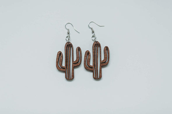 Wood Southwest Cactus Earrings from Solid Mahogany Stained Maple