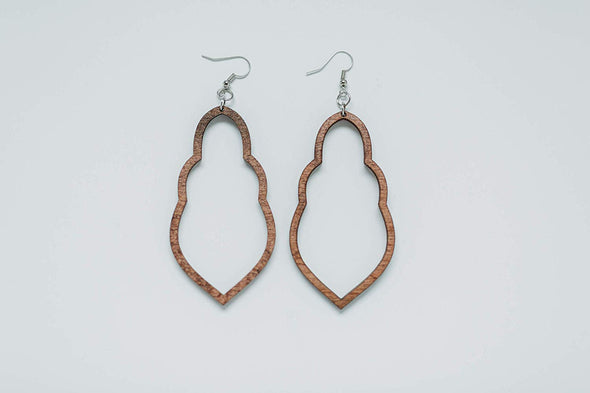 Wood Desi-Design Statement Earrings from Solid Mahogany Stained Maple
