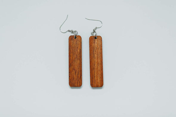 Long Rectangle Wood Earrings from Natural Reclaimed Mahogany