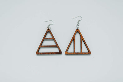 Yin and Yang Triangle Wood Hoop Earrings Natural Solid Reclaimed Mahogany