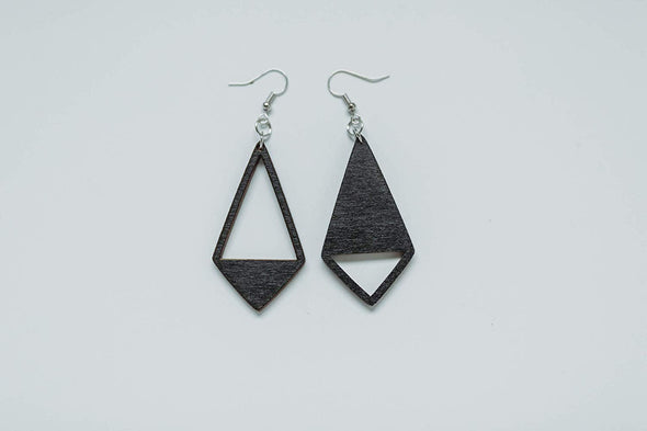 Yin Yang Kite Shaped Wood Earrings from Natural Black Stained Maple