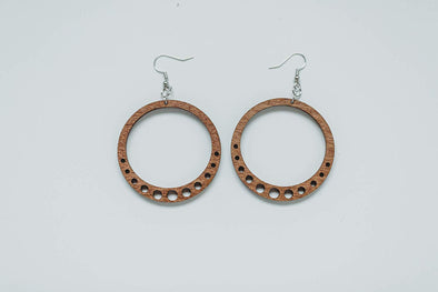 Wood Holey Hoop Earrings from Natural Reclaimed Maple