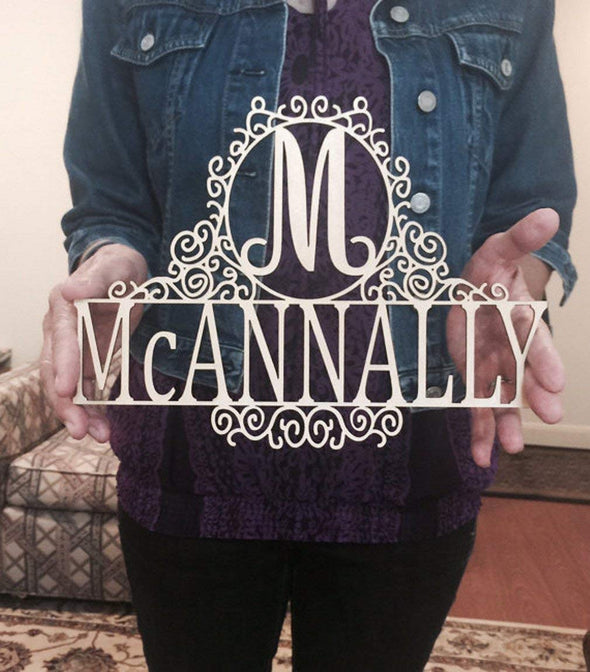 Personalized 12 inch Family Last Name Sign, Wall or Door Hanging with Script Initial