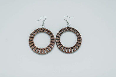 Wood Radiance Large Round Hoop Earrings from Solid Mahogany Stained Maple