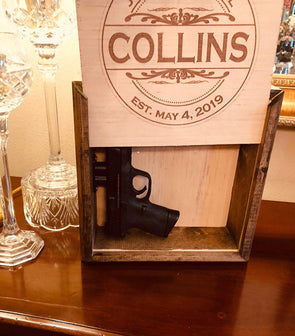 Personalized Hidden Gun Safe or Jewelry Concealment Wall Hanging with Engraved Family Name