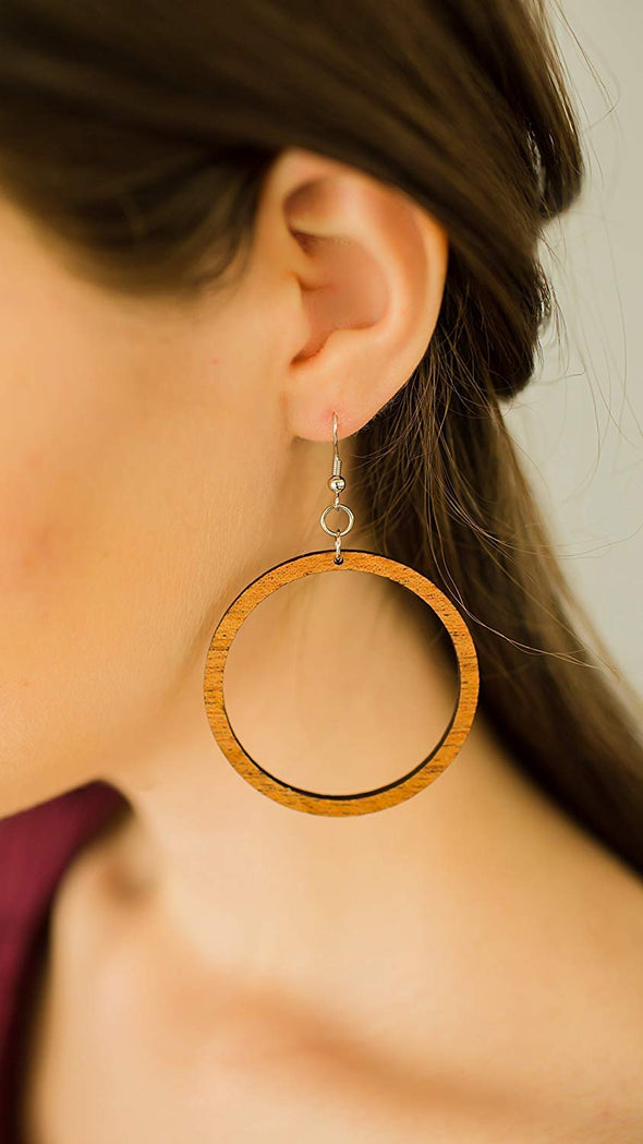 Wood Hoop Earrings from Natural Reclaimed Mahogany