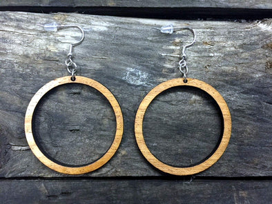 Smaller (1 3/4 inch) Wood Hoop Earrings from Natural Reclaimed Mahogany