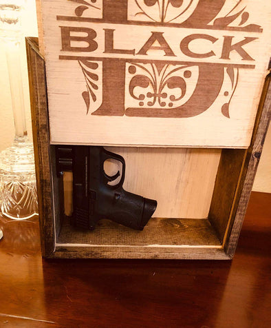 Personalized Hidden Gun or Valuables Safe Wall Hanging with Last Name and Initial