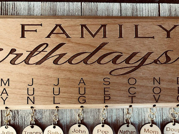 Family Birthday Board Wall Hanging Wood Plaque