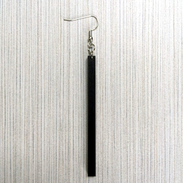 Skinny Natural Matchstick Wood Earrings from Reclaimed Black Stained Maple