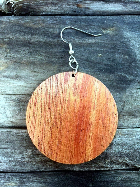 Solid Wood Disc Hoop Earrings from Natural Reclaimed Mahogany