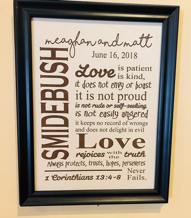 Personalized Anniversary Wedding Love Verse 1st Corinthians 13