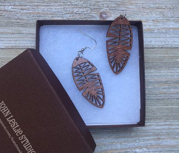 Wood Feather Earrings from Solid Stained Maple