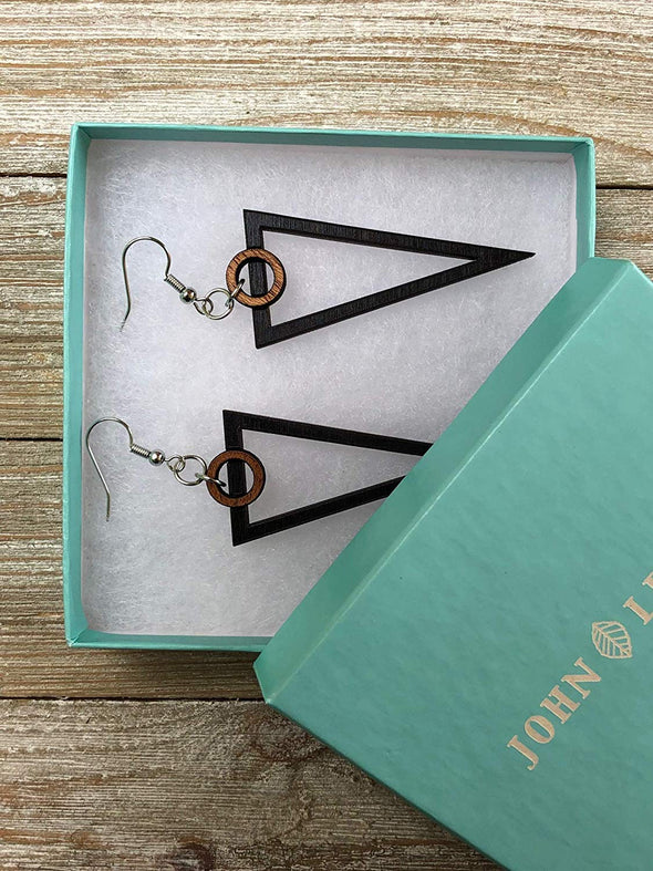 Two Tone Art Deco Triangle Wood Earrings from Solid Mahogany and Black Maple