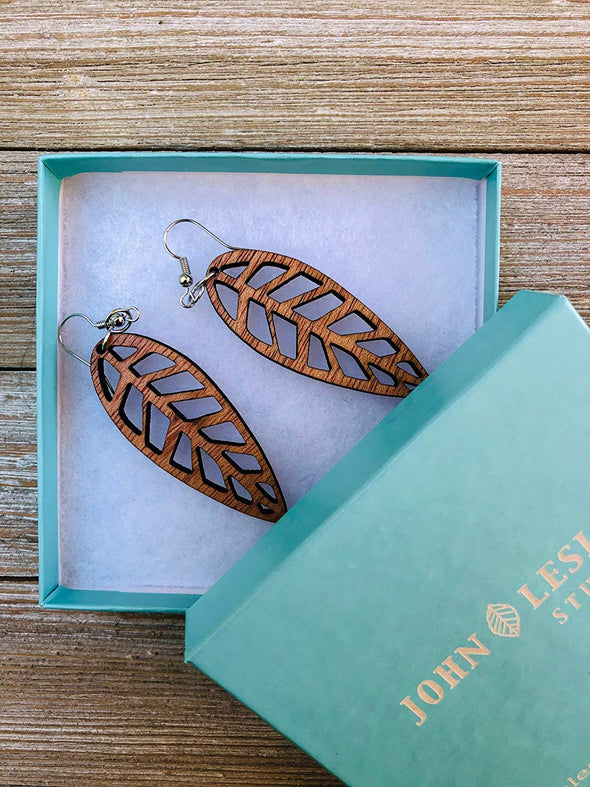 Eco-Friendly Wood Leaf Earrings from Solid Reclaimed Mahogany