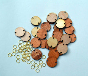 Wood Discs or Hearts (10) w/Jump Rings for Birthday Boards or Craft Projects