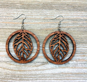 Circle Of Life Wood Earrings from Natural Reclaimed Mahogany
