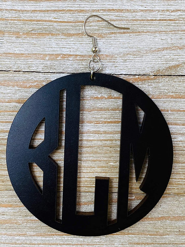 Large Wood Black Lives Matter Monogram Earrings