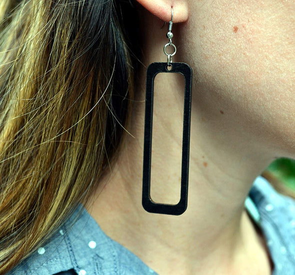 Open Rectangle Wood Earrings From Solid Black Stained Maple