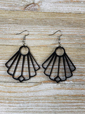 Elegant Fan Shape Solid Wood Earrings from Black Stained Maple