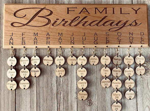 Johh Leslie Studios Family Birthdays, Family Birthday Board