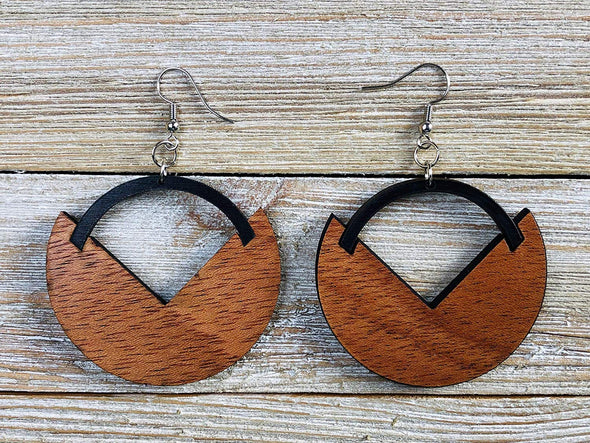 Two Tone Modern Art Deco Wood Hoop Earrings from Solid Mahogany and Black Maple