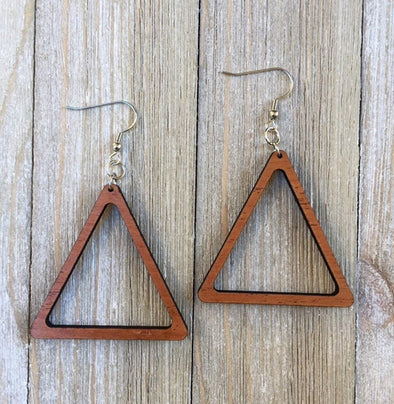 Triangle Wood Hoop Earrings from Natural Solid Reclaimed Mahogany