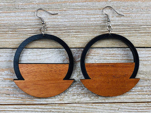 Two Tone Art Deco Weighted Hoop Wood Earrings from Solid Mahogany and Black Maple