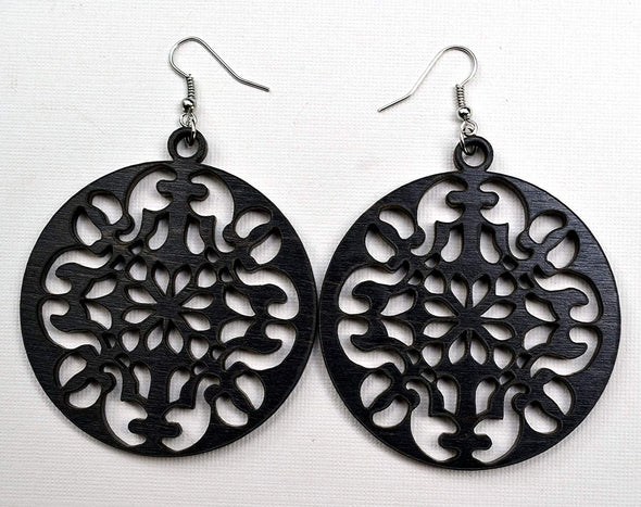 Round Ornate Wood Earrings from Reclaimed Black Maple