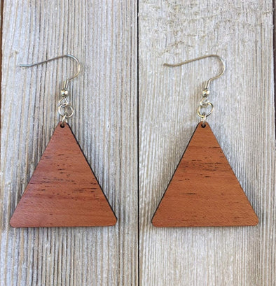 Solid Wood Triangle Earrings from Natural Reclaimed Mahogany
