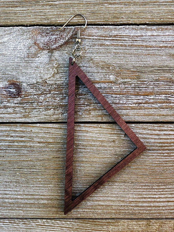 Eco-Friendly Wood Trailing Edge Triangle Earrings from Natural Reclaimed Maple