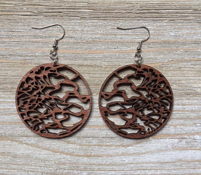 Serengeti Round Large Wood Earrings from Natural Reclaimed Maple