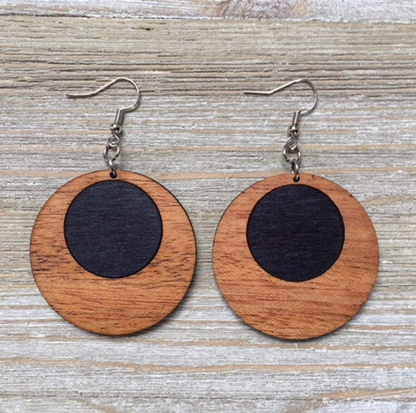 SALE! Black Dot Wood Offset Hoop Earrings from Reclaimed Mahogany and Black Stained Maple