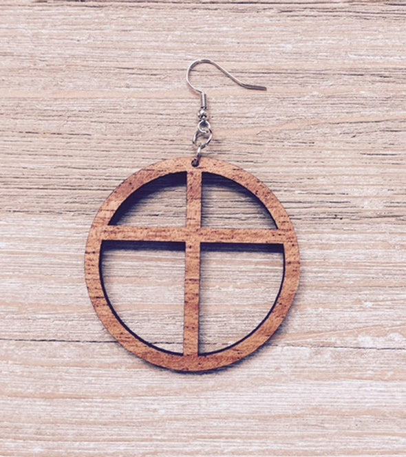 Cross Hoop Wood Earrings from Natural Reclaimed Mahogany
