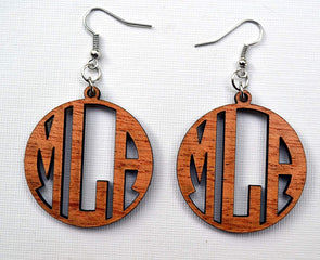 Monogram Earrings in Solid Mahogany Wood Personalized
