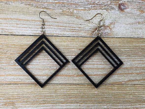 Sarah Design Diamond Shaped Wood Earrings from Natural Black Stained Maple