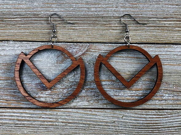Art Deco 90 Degree Hoop Wood Earrings from Solid Mahogany