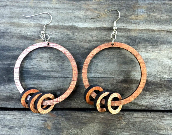 Wood Hoops on Hoop Earrings from Natural Reclaimed Mahogany