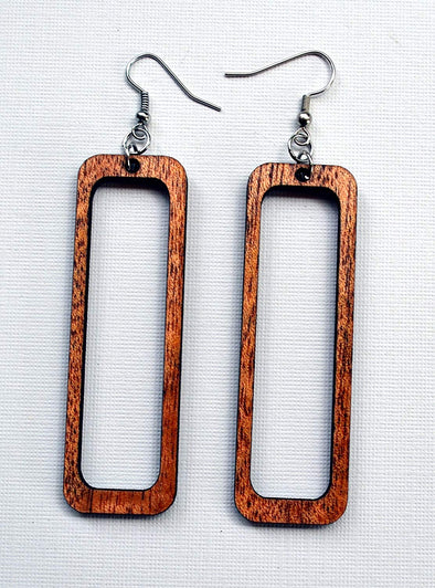 Open Rectangle Wood Earrings from Solid Reclaimed Mahogany