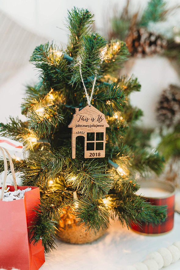 This Is Us 2019 Christmas Home Ornament with Street Address from Solid Wood