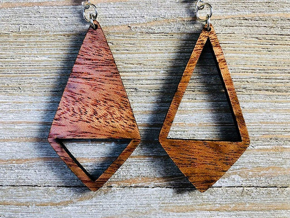 Yin Yang Kite Shaped Wood Earrings from Natural Reclaimed Mahogany